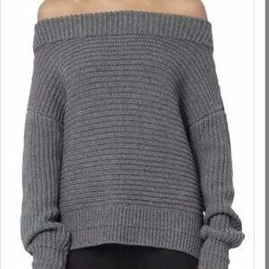 INTERMIX Off Shoulder Chunky Knit Sweater